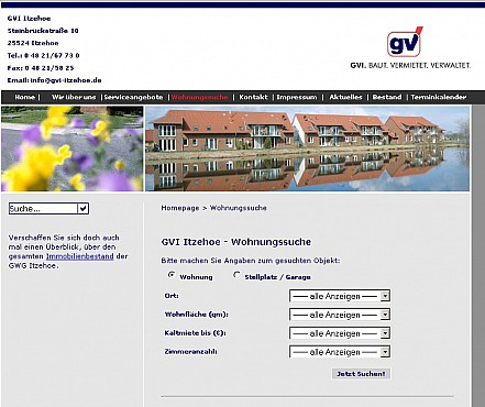 GVI Itzehoe immovables webpage Screenshot 1