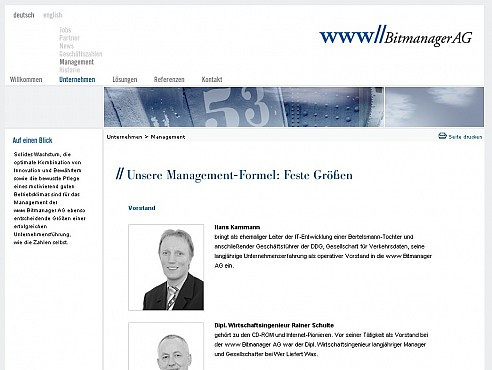 Bit Manager AG Homepage Screenshot 2