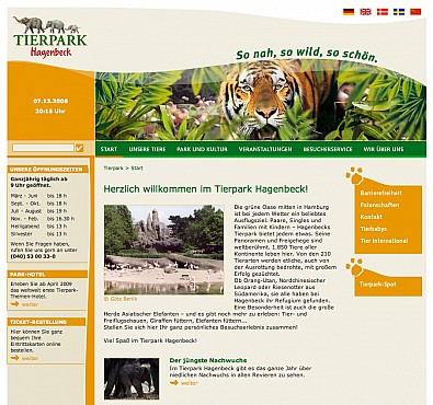 Hagenbecks Tierpark Homepage Screenshot 2