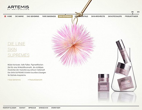 Artemis Skincare Flashsite Screenshot 2