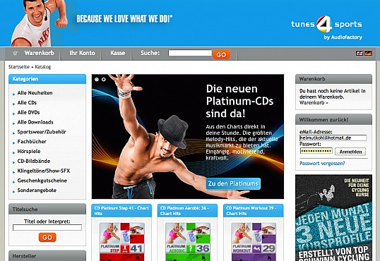 tunes4sports xtCommerce-Shop Programmierung Screenshot 1