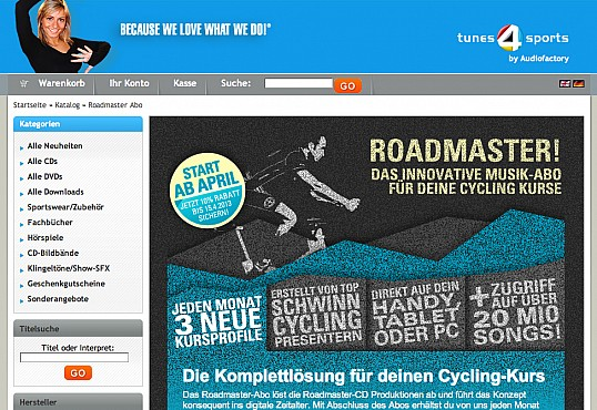 tunes4sports xtCommerce-Shop Programmierung Screenshot 2