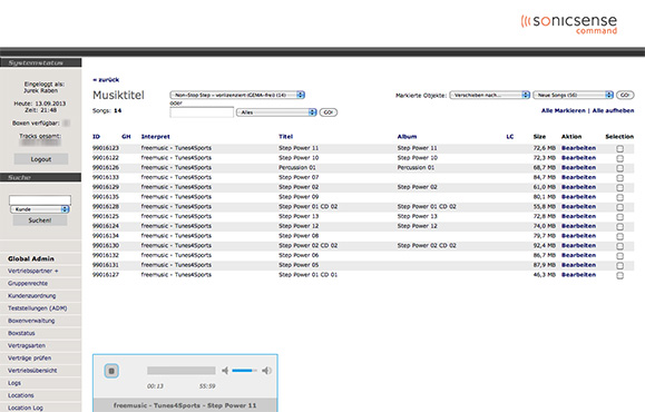 Sonic Sense PHP administration application Screenshot 2